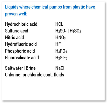 Plastic pumps usable for various liquids